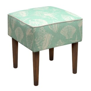 123 Creations Seashells Upholstered Vanity Stool