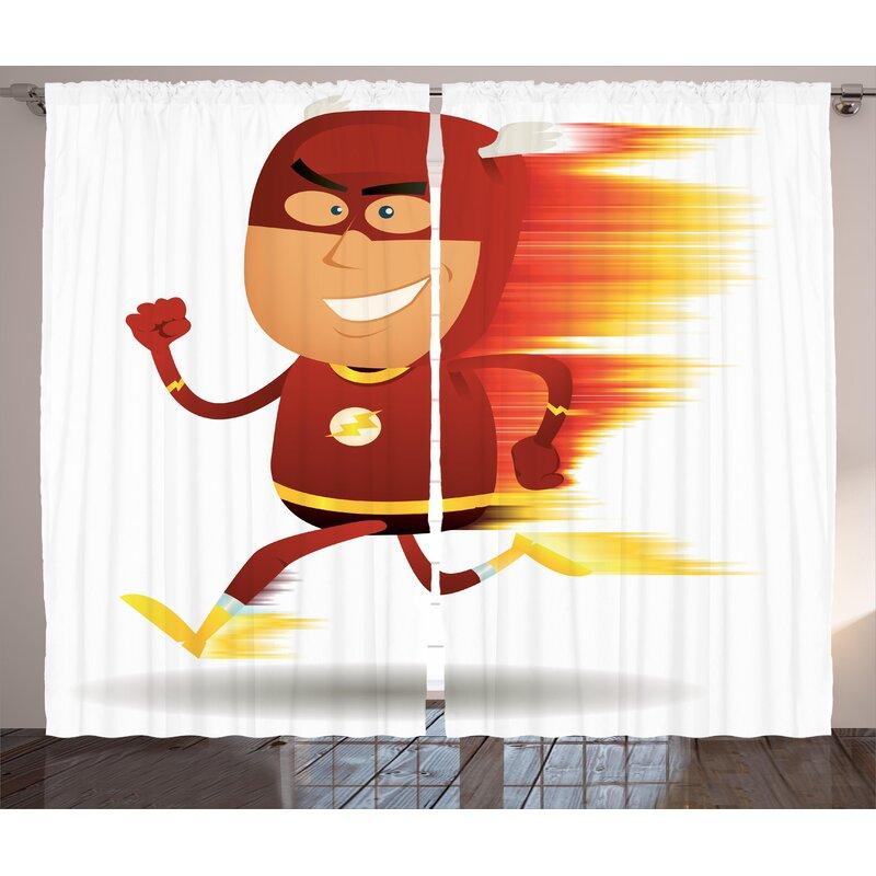 Superhero Lightning Bolt Man With Cape And Mask Fast As Light Fun Cartoon Character Artprint Graphic