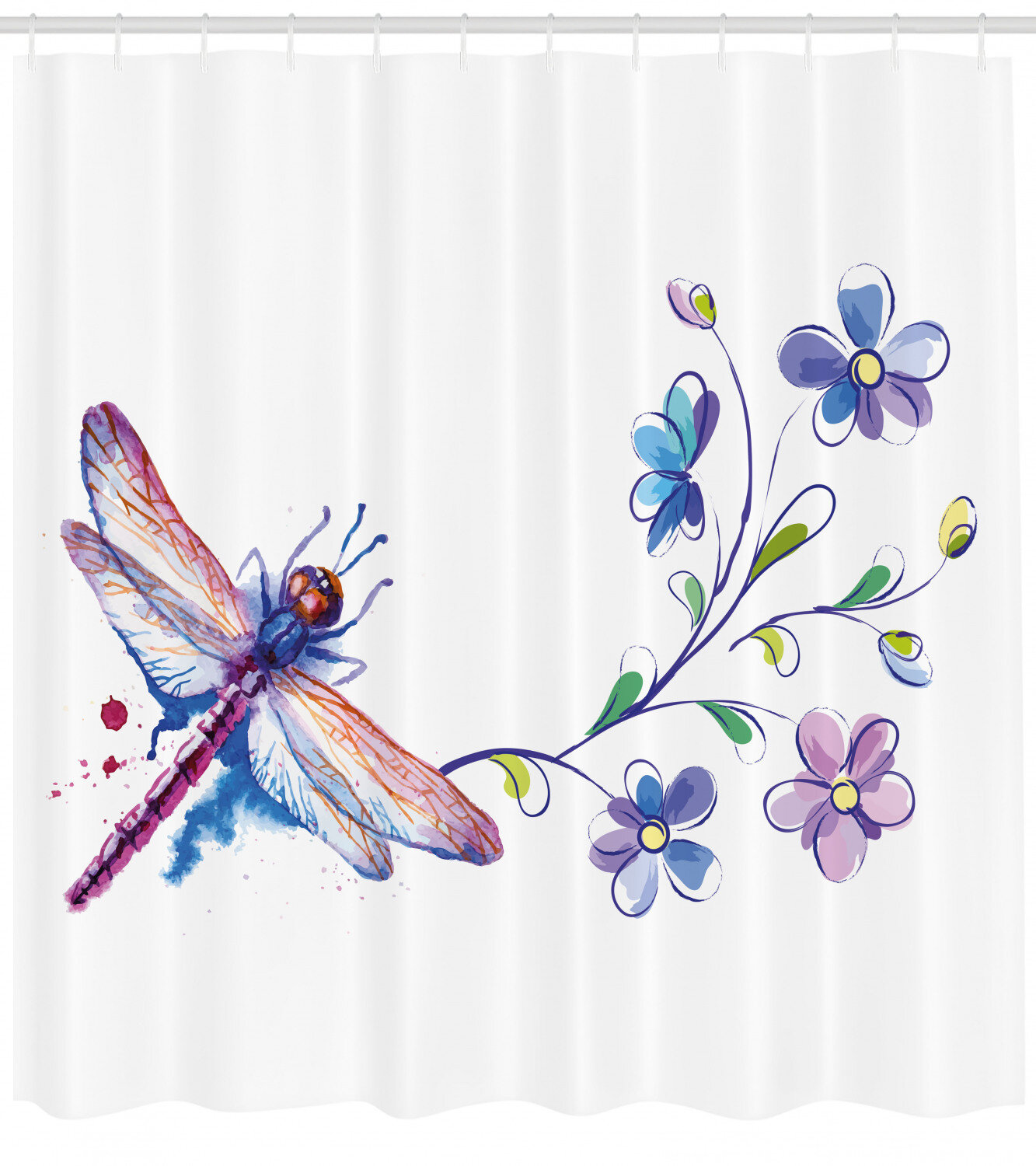 Dragonfly Shower Curtain Set Hooks
