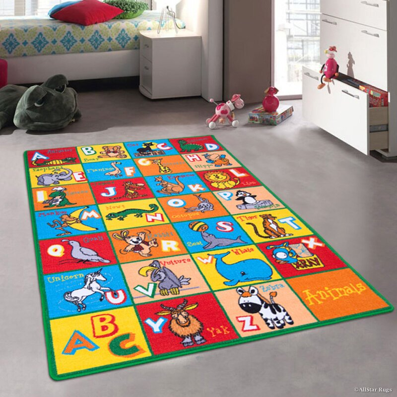 Angelique Learn ABC / Alphabet Letters with Animals Bright Colorful Vibrant  Colors Kids / Baby Room Area Rug