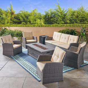 Rosecliff Heights Farrar Outdoor 7 Piece Rattan Sofa Seating Group with Cushions