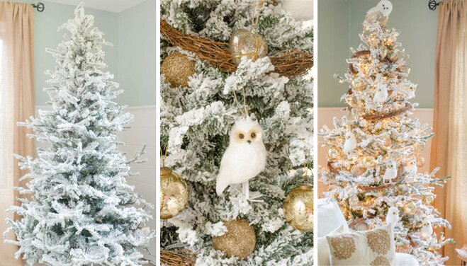 decorating a faux flocked christmas tree - Flocked Christmas Tree Decorating Ideas