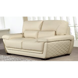 Wonderful Vigil Leather Loveseat Latitude Run