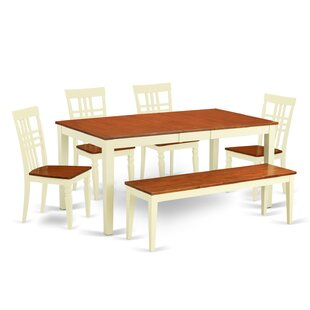 Pillar 6 Piece Extendable Solid Wood Breakfast Nook Dining Set August Grove