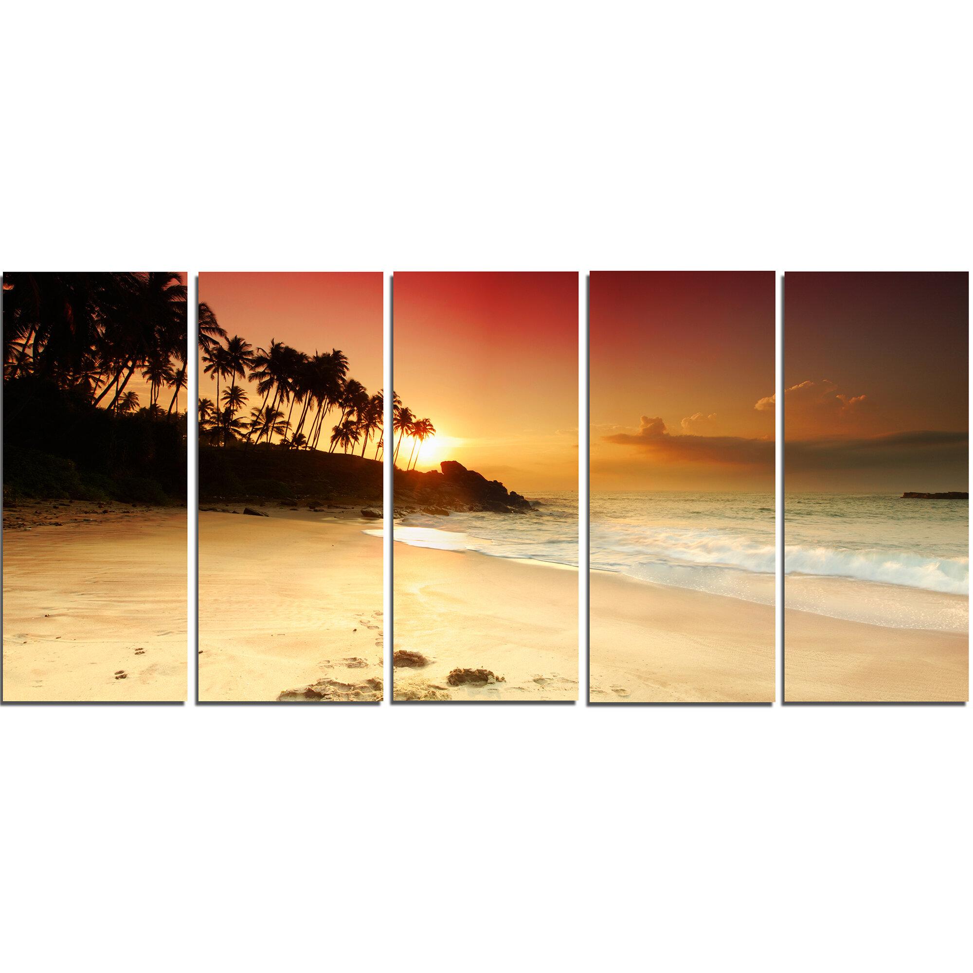 DesignArt Amazing Sunset and Beach in Sri Lanka 5 Piece Wall Art on ...