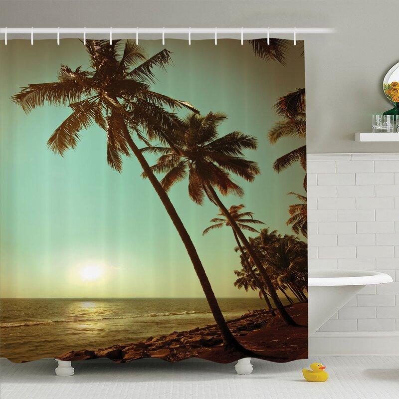Palm Tree Tropical Waters Green Leaf Beach Shower Curtain Set Bathroom Decor
