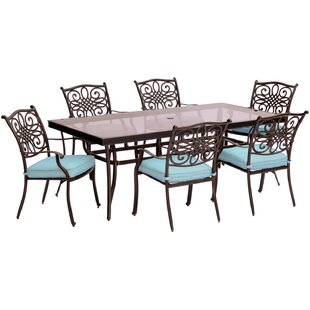 Three Posts Lauritsen 7 Piece Aluminum Dining Set with Cushions