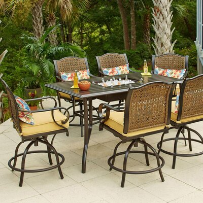 Sierra 7 Piece Bar Height Dining Set With Cushions by Bay Isle Home New