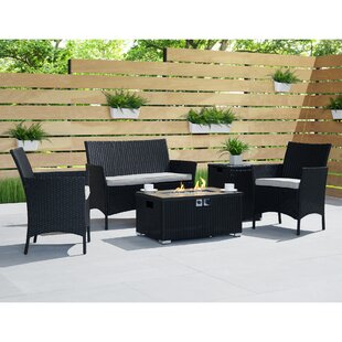 Osblek 4 Piece Rattan Sofa Seating Group with Cushions by Wrought Studio