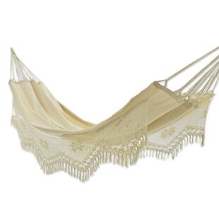 Artisan Crafted Single Person Indoor and Outdoor Hand Woven with Crochet Fridge Brazilian Cotton Tree Hammock