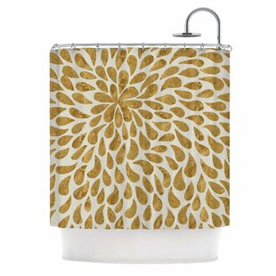 'Abstract Golden Flower' Single Shower Curtain