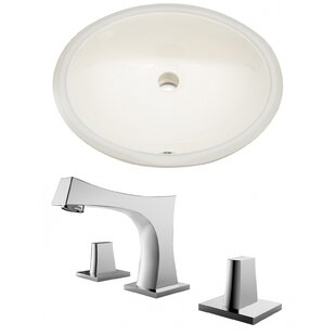 Online Reviews CUPC Ceramic Oval Undermount Bathroom Sink with Faucet and Overflow By American Imaginations
