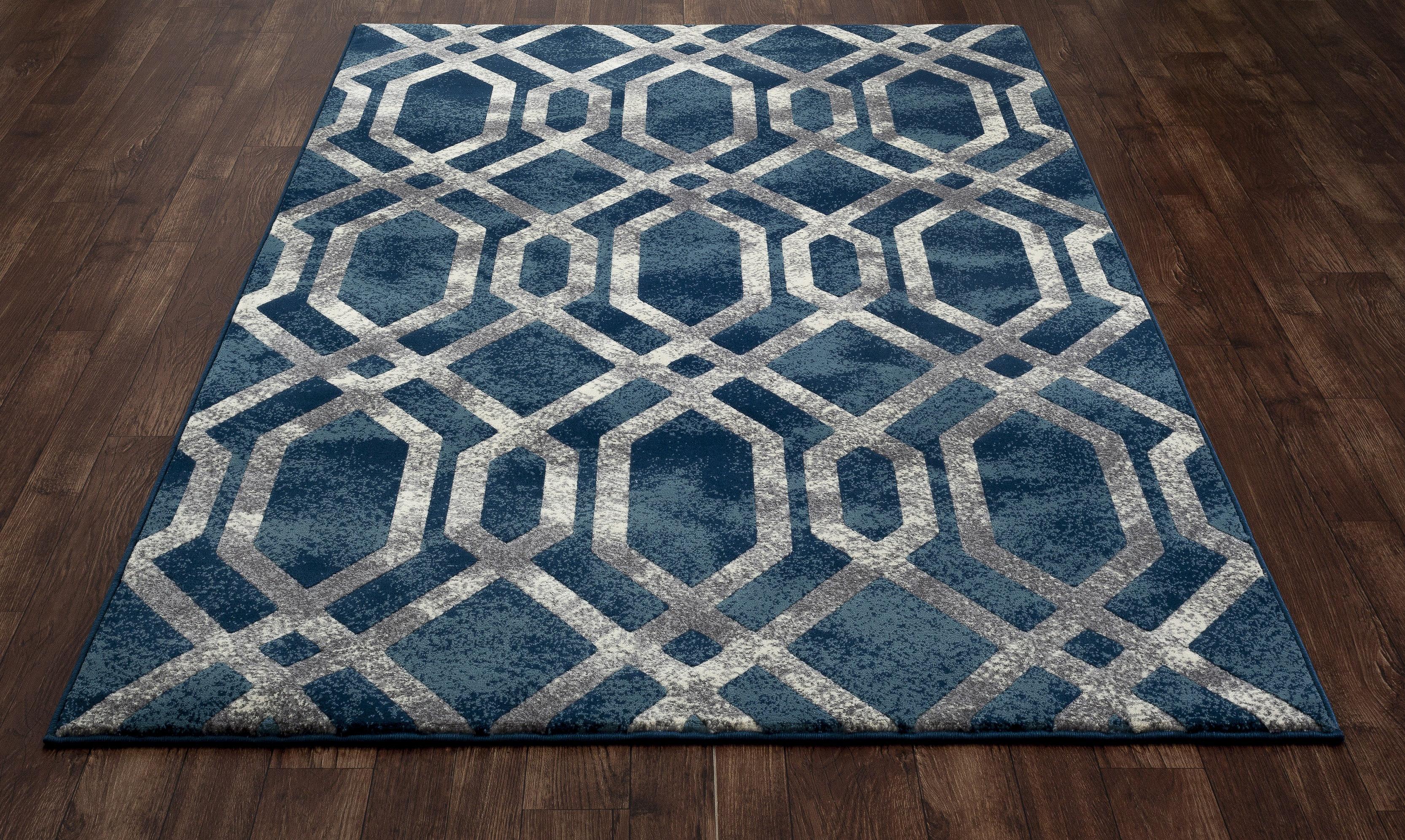 Mercer41 Delanie Geometric Blue Silver Area Rug Reviews Wayfair