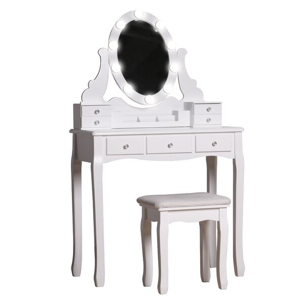 Mercer41 Lorenco Solid Wood Vanity Set With Stool And Mirror Reviews Wayfair