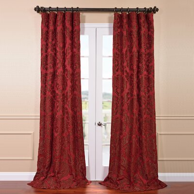 """Astoria Damask Faux Silk Jacquard Rod Pocket Single Curtain Panel Size per Panel: 50"""" W x 84"""" L, Curtain Color: Red and Bronze"""