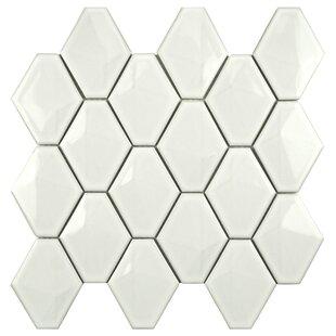 Fractal 2 75 X 3 05 Porcelain Mosaic Tile In Glossy White