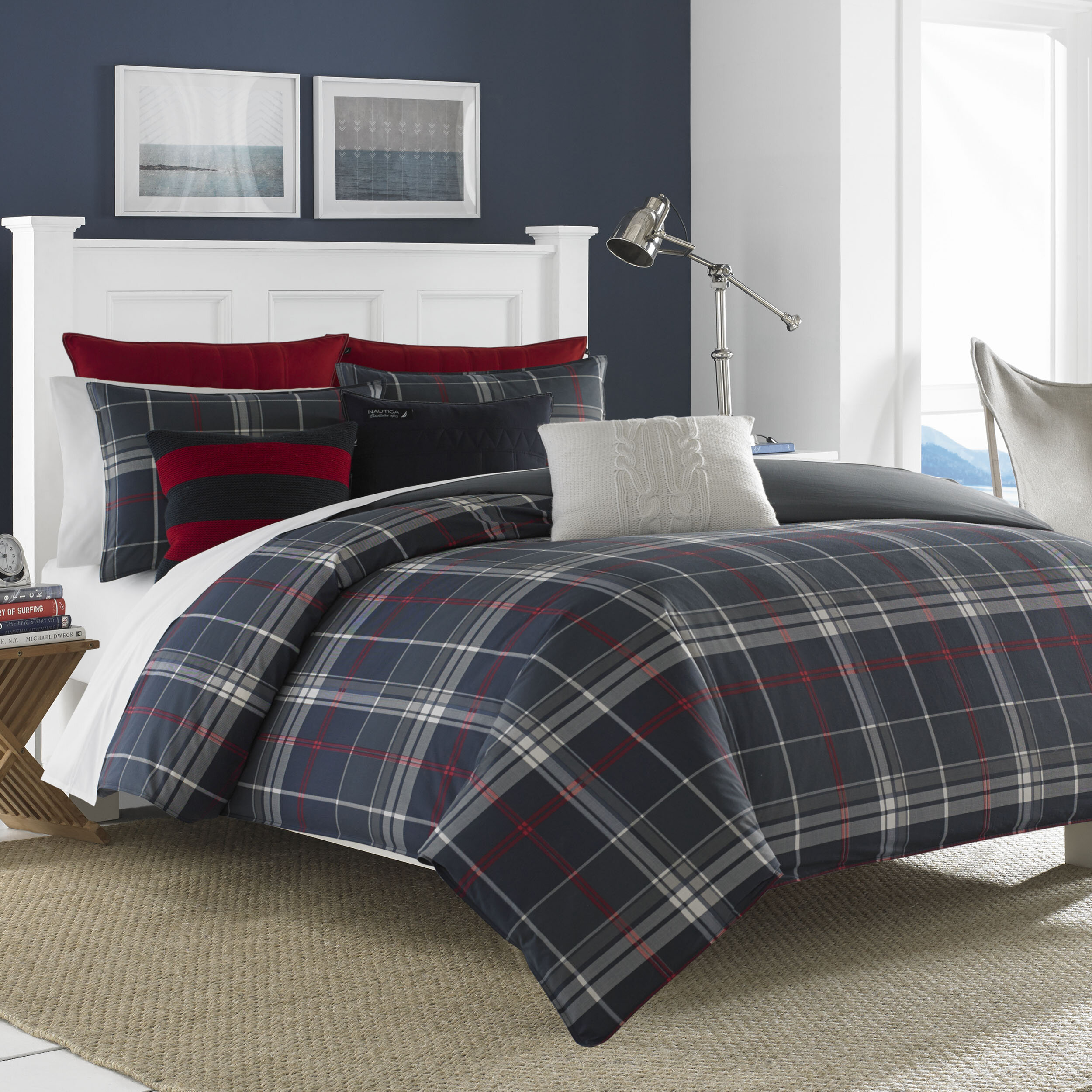 comforter decorating lostcoastshuttle ideas plaid size red and black set queen fantastic bed