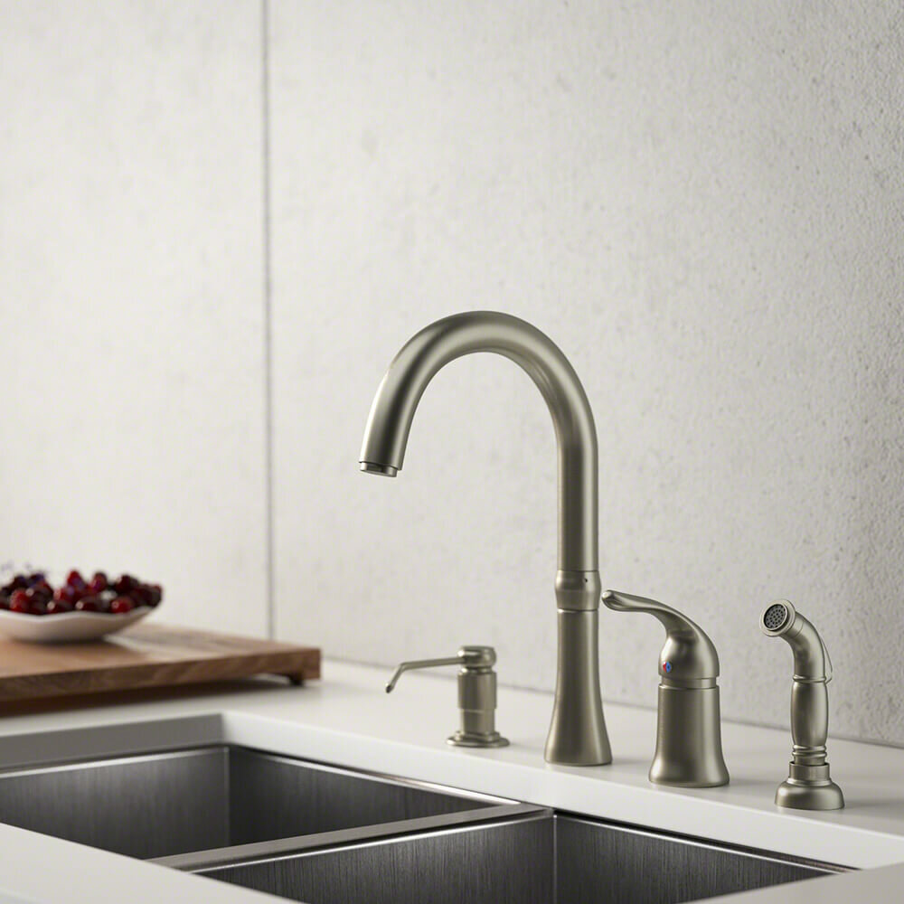 4-Hole Standard Single Handle Kitchen Faucet with Side Spray and Soap  Dispenser