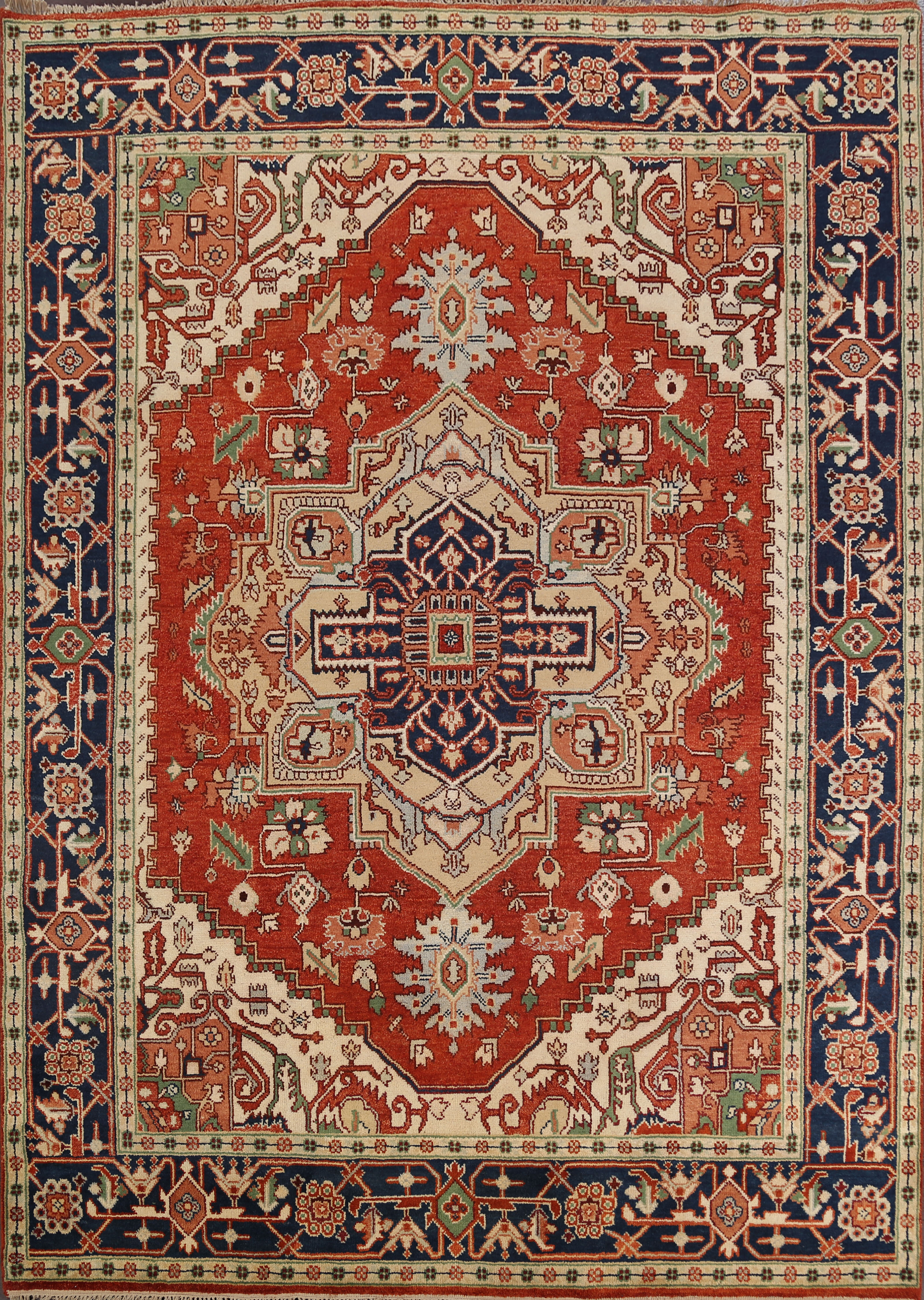 Rugsource Hand Knotted Wool Navy Blue Red Ivory Rug Wayfair