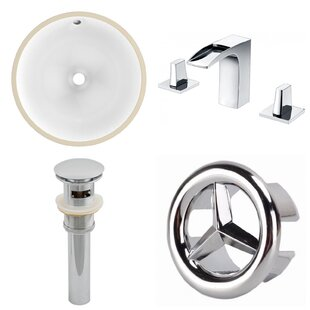 High-End CUPC Ceramic Circular Undermount Bathroom Sink with Faucet and Overflow By American Imaginations