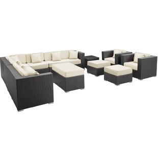 Modway Coherence 11 Piece Rattan Sectional Set with Cushions