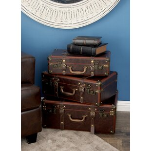 Charming 3 Piece Wood And Leather Trunk Set