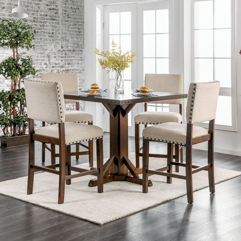 brown american freight table chairs counter piece dining height wood chair set mcgregor