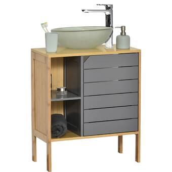 Latitude Run Alinde 23 6 W X 25 H X 11 8 D Free Standing Bathroom Cabinet Reviews Wayfair