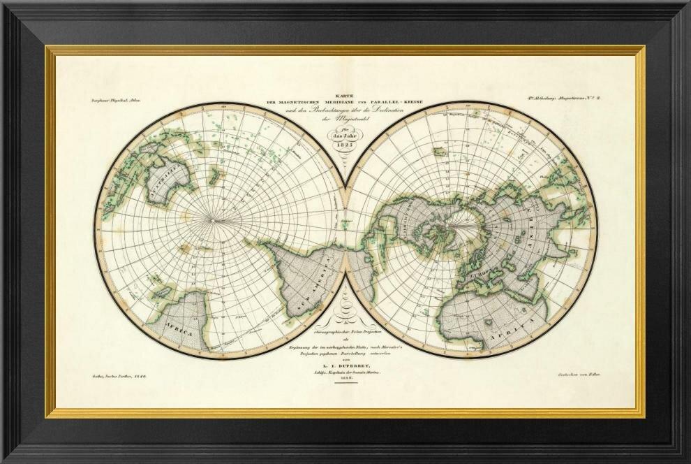 Global Gallery Karte Der Magnetischen Meridiane Und Parallel Kreise 1840 By Heinrich Berghaus Framed Graphic Art On Canvas Wayfair