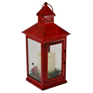 Holiday Berry and Pine Ring LED Metal Lantern