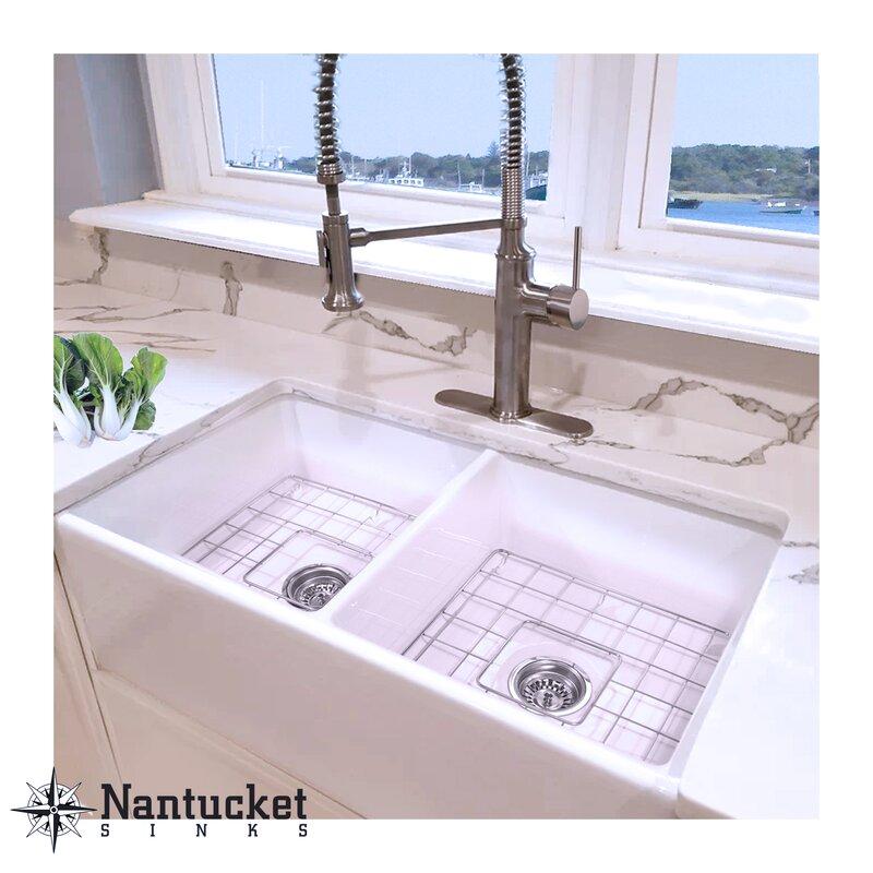 Enjoyable Cape 33 L X 18 W Double Basin Farmhouse Kitchen Sink With Basket Strainer Download Free Architecture Designs Scobabritishbridgeorg