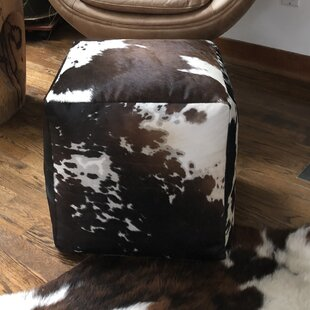 Vanhouten Cowhide Leather Pouf by Union Rustic