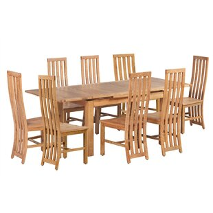 Arreola 9 Piece Extendable Solid Wood Dining Set Loon Peak