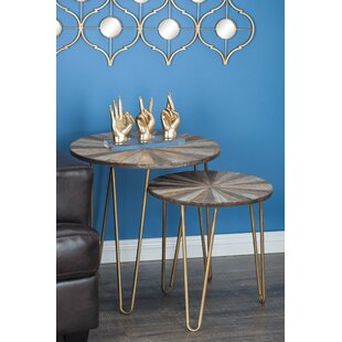 Cole & Grey 2 Piece Metal/Wood End Table Set