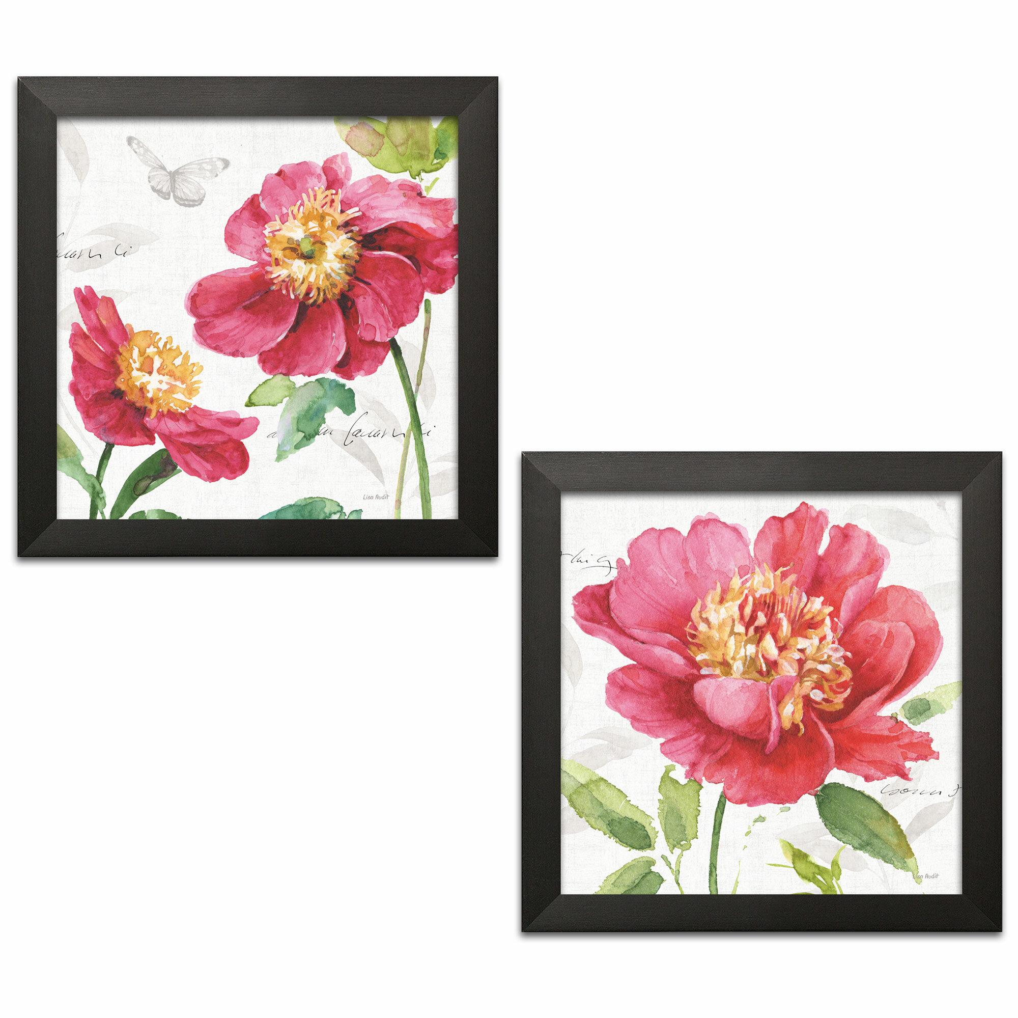Winston Porter Pink Garden Ii Pink Garden Iii By Lisa Audit 2 Piece Picture Frame Painting Print Set On Paper Wayfair