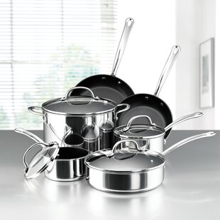10-Piece Non-Stick Stainless Steel Cookware Set