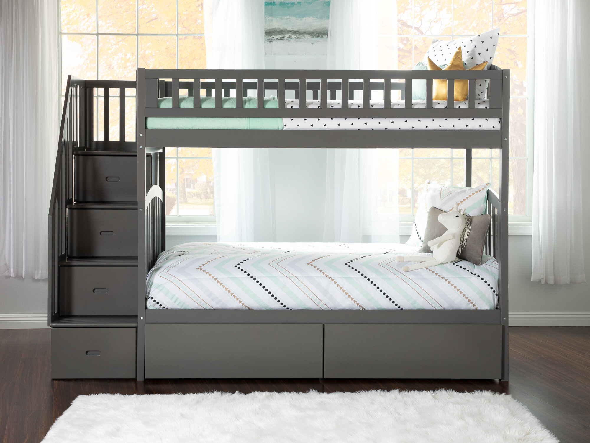 Simmons Staircase Twin Over Bunk Bed With Drawers