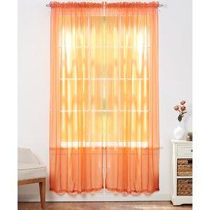Aman Solid Sheer Rod Pocket Curtain Panels (Set Of 4)