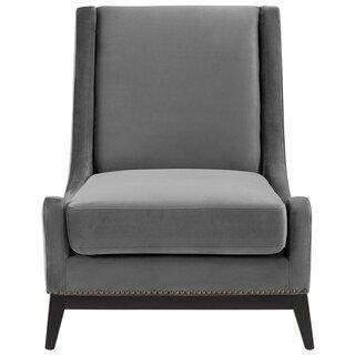 Alderman Upholstered Performance Velvet Lounge Chair by Everly Quinn SKU:EC731526 Details