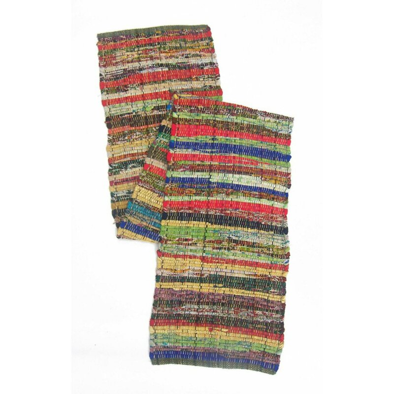 marvelous Chindi Runner Part - 10: Fleur Recycled Cotton Cuttings Chindi Table Runner