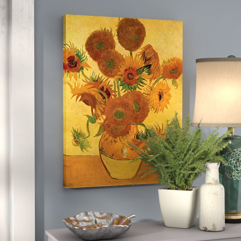 7199811fca3 Alcott Hill  Vase with Fifteen Sunflowers  by Vincent Van Gogh Painting  Print on Canvas   Reviews