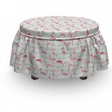 Flamingo Striped Pastel Jungle 2 Piece Box Cushion Ottoman Slipcover Set by East Urban Home