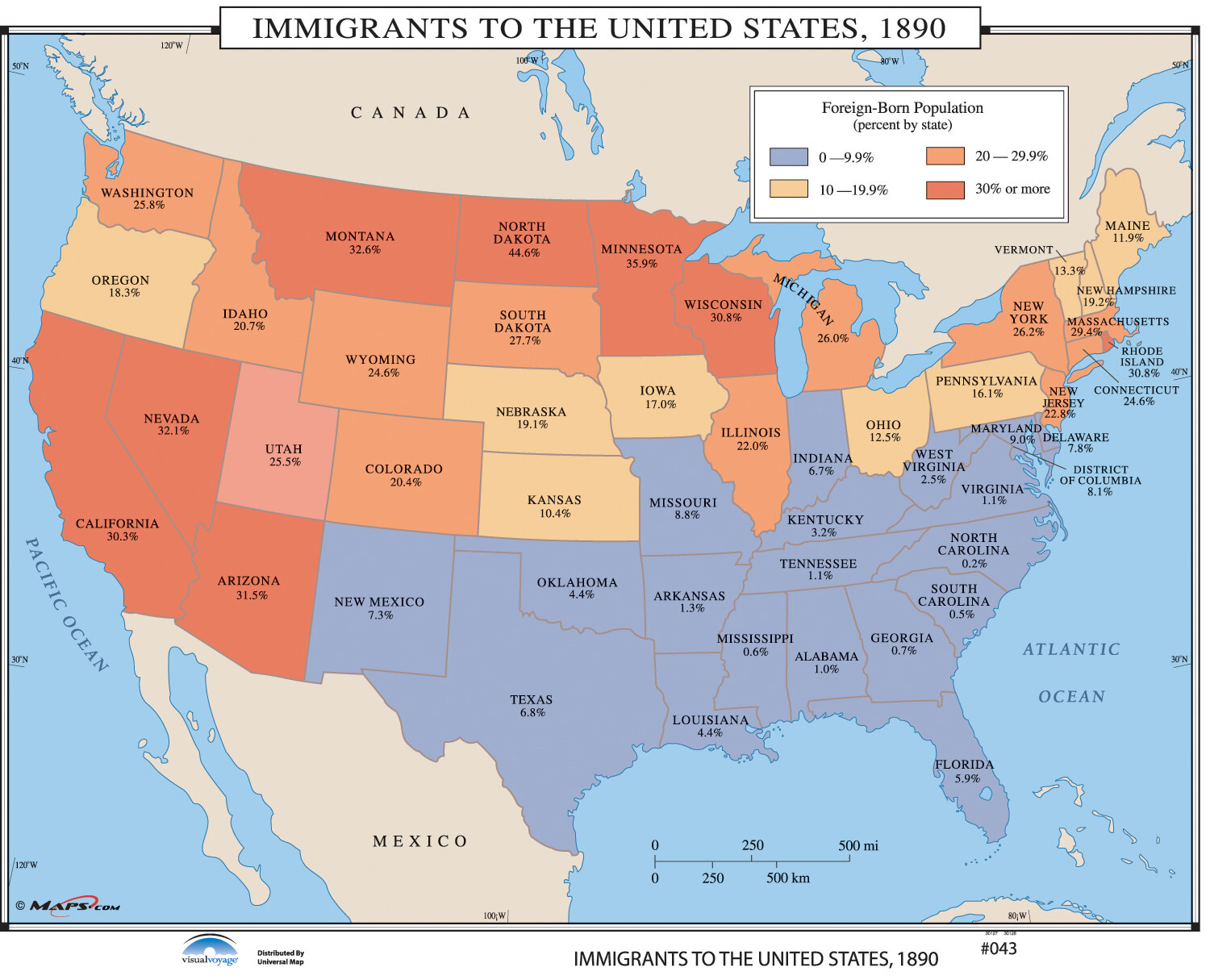 Universal Map Us History Wall Maps Immigrants To The Us Wayfair - Us-map-before-civil-war