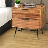 Harriss Wooden 2 Drawer Nightstand by Union Rustic