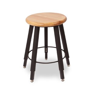 Adjustable Height Round Hardwood Seat 5 Leg Stool