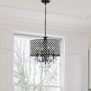 Check Prices Gisselle 4-Light  LED Drum Chandelier By Willa Arlo Interiors