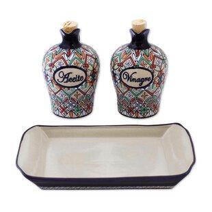 3 Piece Flower of Guanajuato Ceramic Oil and Vinegar Set ByBloomsbury Market