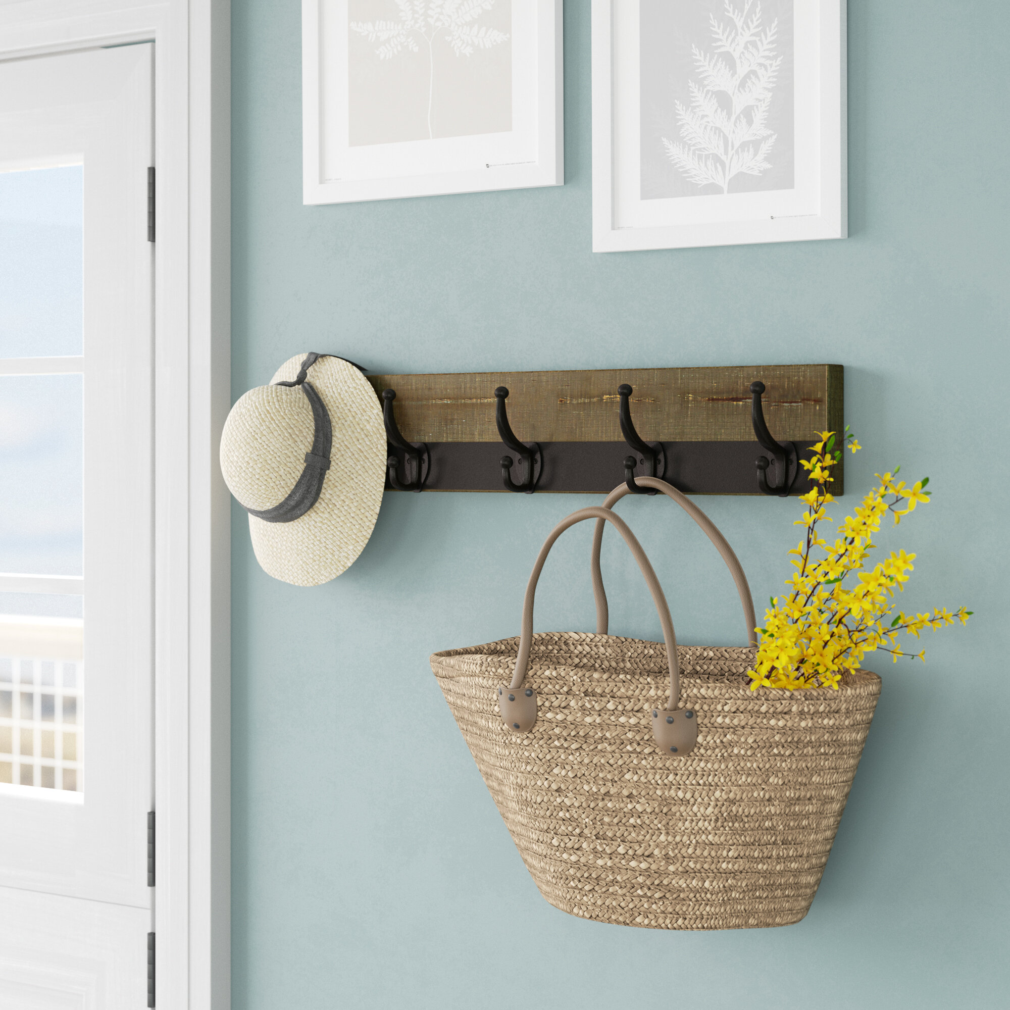 Lindgren Metal Trimmed Five Hook Wall Mounted Coat Rack & Reviews ...