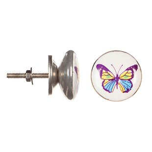 Ceramic Purple Butterfly Round Knob