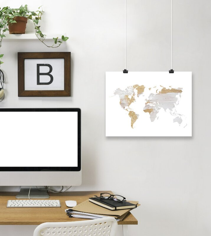 East urban home grey gold world map by ikonolexi framed graphic grey gold world map by ikonolexi framed graphic art print gumiabroncs Images
